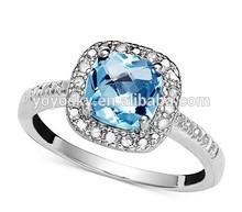 Pure handicraft factory 925 Sterling Silver Ladies engagement ring The unique design Blue Zircon Women wedding ring
