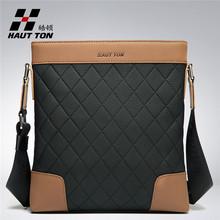 Genuine leather Plaid texture bag for men