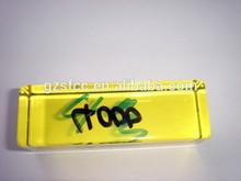 Amarillo de plástico transparente de varilla de la marca, Yellow square varilla de acrílico