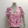 novo projeto de verão de manga curta modelos atado blusa