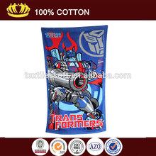 100% cotton soft velour trans formers carton reactive printed bath towel