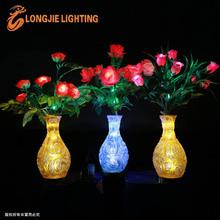 36 led 0.6m led lighted simulation flowers yellow vase /decorative led roses light