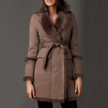 Wholesale new long fashion style belt brown womens winter fur coats