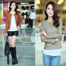 HFR-R-177 Korean style slim fit leather women jackets wholesale
