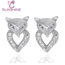 Clear Micropave Fox Stud Earrings Cubic Zirconia Rhodium Sterling Silver Plated