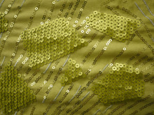 green lace fabric with sequence embroidery design for winter jacket fabric
