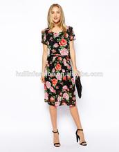 2014 new arrival fashion girls sexy floral print elegant short skater dress
