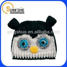 Sunny Shine custom children OWL pattern cute winter knitted kids hats