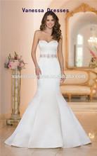 New Design Elegant Sweetheart Regal Beaded Dolce Satin Mermaid Wedding Dress 2014