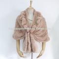 Lã de moda/acrílico crocheted mão cabo com malha rabbit fur cape
