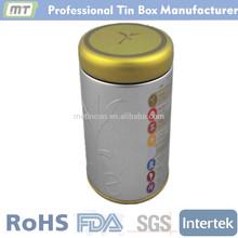 Round food grade metal herbal tea tin package box