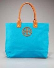 PU leather handle fashion canvas cotton bag