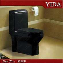 Best sell in Saudi Arabia black family toilet,sophonic colored ceramic toilet,saving water wc toilet S trap 300 400mm