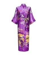 wholesale thick elastic satin made women cool summer silky kimono robe