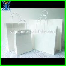 Yiwu 2015 New Arrived custom made large white blank craft paper shopping bag 2014 new design white kraft paper bag