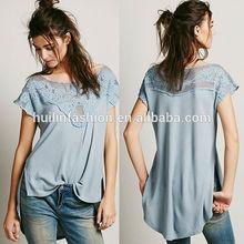 2014 latest embroidered lace women plain fashion hemp t shirts wholesale