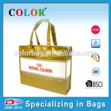 Fashion golden PP woven zipper bag