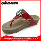 PU leather slipper with elegant rhinestones diamond decoration thick sole flip flop