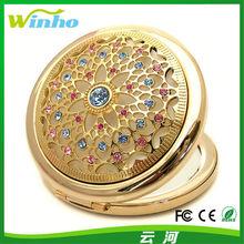 Winho new fashionable metal jeweled pocket mirror
