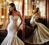 LI-129 Beautiful Sweetheart Strapless Court Train Lace And Satin Sexy Mermaid Wedding Dresses