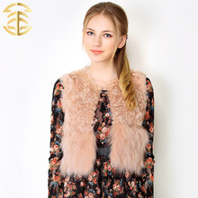 2015 wholesale sex girl or women vests genuine animal sheep and fox women fur vest