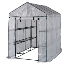 Steel Walk-in Greenhouse With White PE Cover For Your Flowers & Plants in Cold Winter