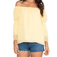 wholesale alibaba OEM china supplier dongguan new style long sleeve yellow ladies fashion blouse hot sexy girl photo