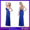 High Quality Royal Blue Sheath Sweetheart Low Back Floor Length Crystals Satin Side Slit One Long Sleeve Prom Dress (AB0931)
