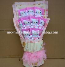 lovely hello kitty toys plush flower bouquet