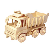 DIY educational wooden 3d puzzle rc truck toy for sale