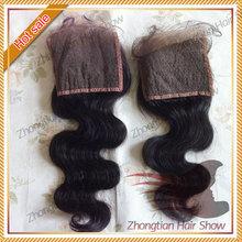Hot sale body wave Peruvian hair 4*4 virgin human hair lace closure free shipping