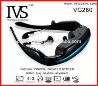 CE/CFF Certificate! Portable Wireless 52 Inch dvd glasses Full HD 4GB VG280