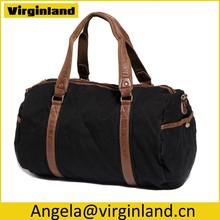 6520 Fashion High End Travel Bag Style Black Durable Canvas Weekender Bag for Men Outside