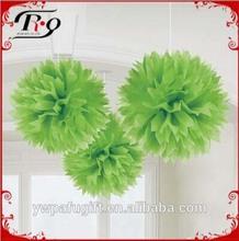 light green tissue paper pom-poms wedding decorations