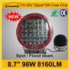 8.7 inch 8160LM 96W new design led work lighting for ATV