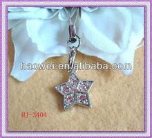 2012 fashion metal Star Phone Charm diamond jewelry promotional gift mobile phone strap