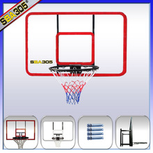 hanging fiber glass basketball backboard with basketball ring and board