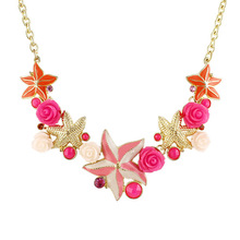 New Trends Good Quality Colorful Starfish And Flower Women Necklace