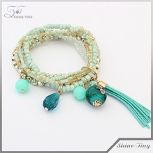 Occident fashion new tassel multilayer elastic charm bracelet