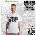 Logo de l'entreprise de conception lisse doublure textile de couleur unie pour hommes t- shirt