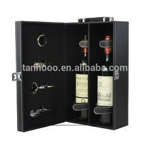 Hot Selling Luxury Portable Wholesale Wine Holder 2 Bottle Gift Case Custom Leather Wine Carrier Wine Box