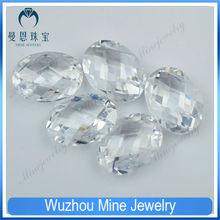 AAAAA double checkerboard oval cut white zirconia gemstone