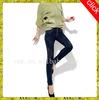 women jeans customized USA patch hot fashion skinny panel Denim legs leather patch photo women black jeans