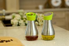 Kitchenware Glass and Stainless Steel Oil bottle Cruet Glass Oil Vinegar Bottle Sauce caster oil and vinegar