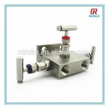 "1/2"" NPTF 20 degree 6000psi sss 316 3-port/ 3 way valve manifold"
