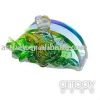 Artbay Lead Crystal Semicircle name Card Holder with Flower