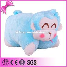 2014 import from china best price soft velvet green colour monkey shape pillow