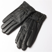 Wholesale Lots Male Full Finger Knitted Lined Sheep Skin Adult Gloves Mittens