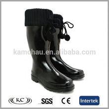 fashion sale online cotton black ladies rubber rain boots high heel
