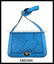 2015 High quality fancy flap design blue latest body cross bags